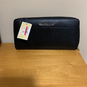 Black MK Leather Wallet that Zips - NEVER USED